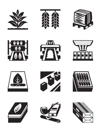 agriculture industry: Production of tobacco, cigarettes and cigars Illustration