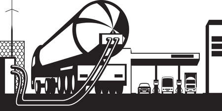 Tank truck loading gas station with fuel