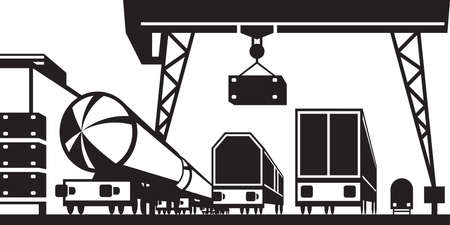 goods station: Railway cargo station - illustration
