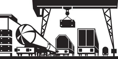 Railway cargo station - illustration