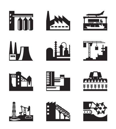 Different industrial plants - illustration Ilustracja