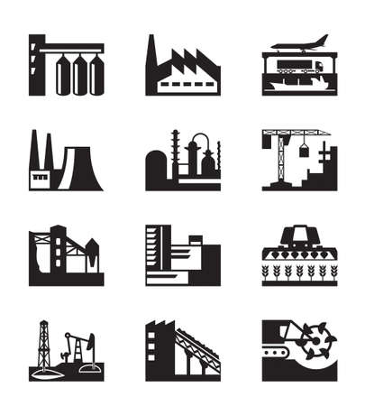 Different industrial plants - illustration Illustration