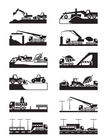 road construction: Construction of roads, bridges and tunnels Illustration