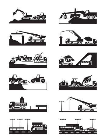 road grader: Construction of roads, bridges and tunnels Illustration