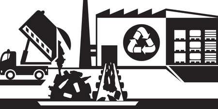 biological waste: Waste recycling plant - illustration