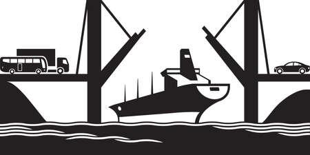 rope bridge: Merchant ship passes under a drawbridge Illustration