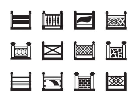 Various railings for balconies - illustration