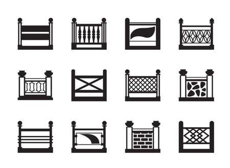 Various railings for balconies - illustration Ilustração Vetorial