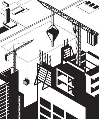 staging: Construction of high buildings - illustration Illustration