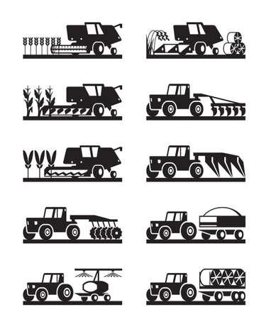 agricultural machinery: Agricultural machinery in the field - illustration