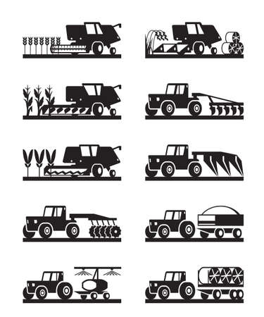 Agricultural machinery in the field - illustration Ilustração Vetorial