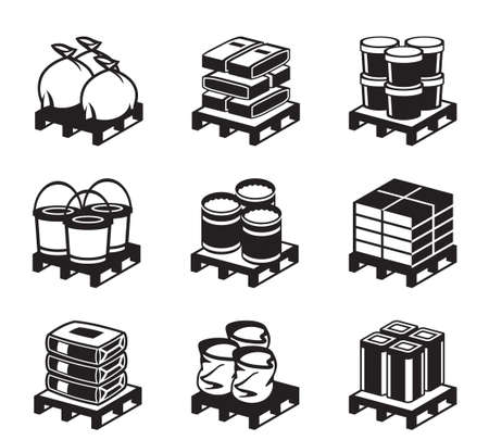 Pallets with building materials - illustration