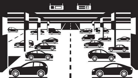 car parking: Underground car parking - illustration