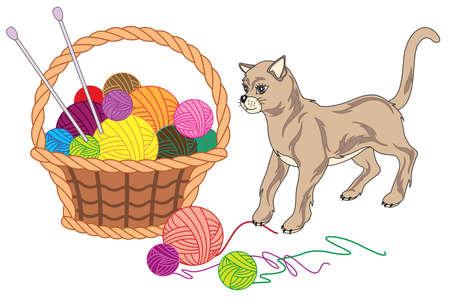stitchery: Basket with balls of yarn and cat illustration Illustration