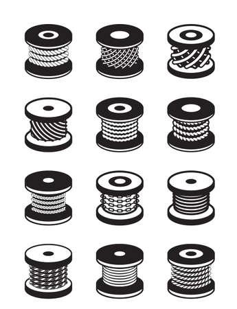 cadenas: Los carretes con diferentes cuerdas y cables - ilustración Vectores