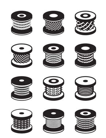 rubber gasket: Reels with different ropes and wires - illustration