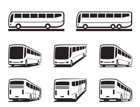 bus tour: Tourist buses and coaches Illustration