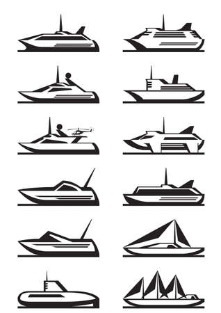 passenger ships: Passenger ships and yachts - vector illustration