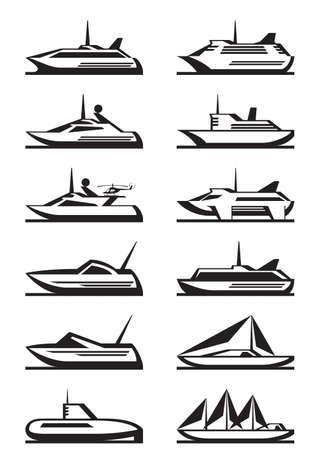 Passagiersschepen en jachten - vector illustratie