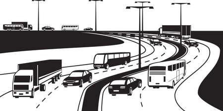 passenger transportation: Passenger and cargo transportation on highway Illustration