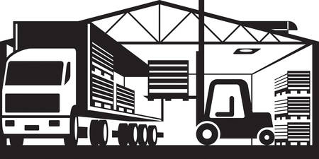 Forklift loads truck with pallets of goods in warehouse Illustration