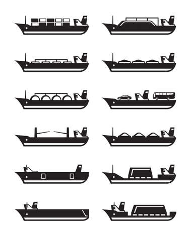 merchant: Merchant and cargo ships - vector illustration