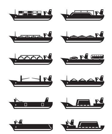 Mercantes y buques de carga - ilustración vectorial