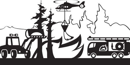 accident fire truck: Equipment for fighting forest fires - vector illustration Illustration