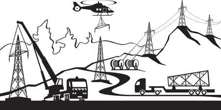 transmission line: Construction of electric transmission line