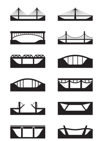suspension bridge: Different types of bridges - vector illustration