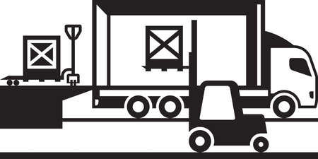 loading truck: Pallet truck and forklift loading truck Illustration