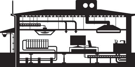 cable tv: Different building installations - vector illustration Illustration