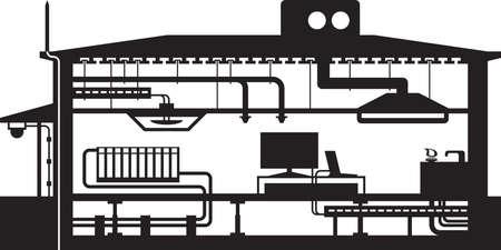 Diferentes equipos de edificios - ilustración vectorial