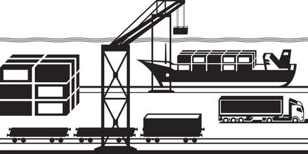 goods station: Port cargo terminal - vector illustration