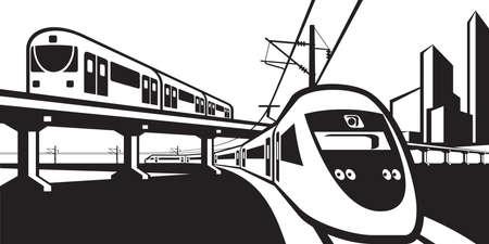 地上を走る電車の輸送 - ベクトル図  イラスト・ベクター素材