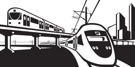 Overground rail transportation - vector illustration Çizim
