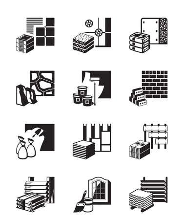 Materiały budowlane i detale budowlane Ilustracje wektorowe
