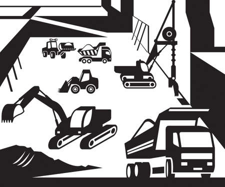 excavation: Construction and excavation machinery Illustration