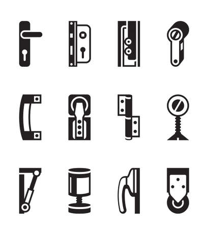 handles: Interior and exterior fasteners - vector illustration
