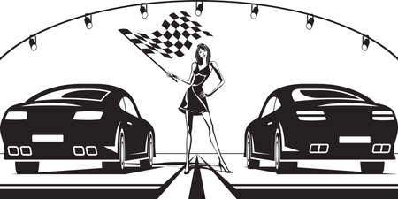 grid: Grid girl launches car race - vector illustration