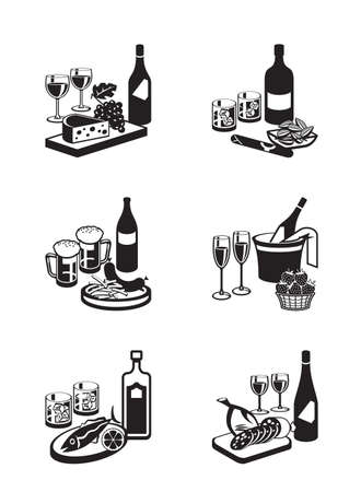 wine grapes: Alcoholic drinks with appetizers - vector illustration Illustration