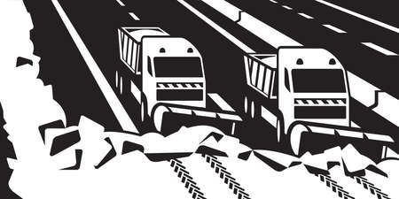 vehicle track: Snow plow trucks clear highway -  illustrator