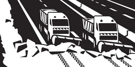 tar: Snow plow trucks clear highway -  illustrator