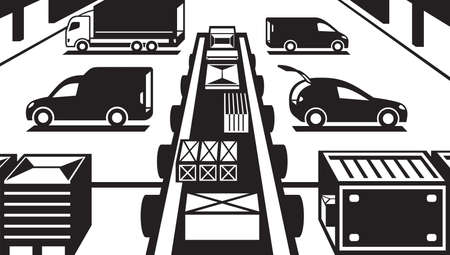 handling: Cargo handling in warehouse - illustration