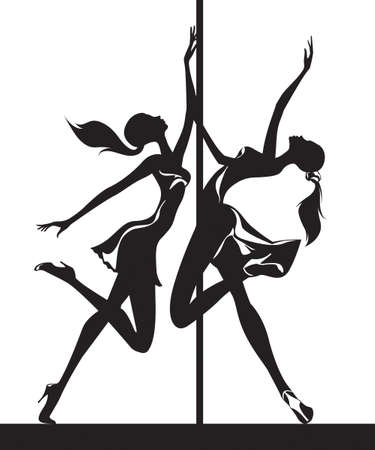 pole: Pole dancers performance - vector illustration