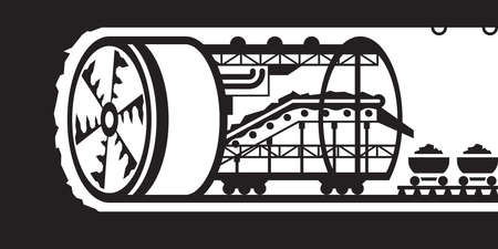 excavating machine: Building of underground tunnels - vector illustration Illustration