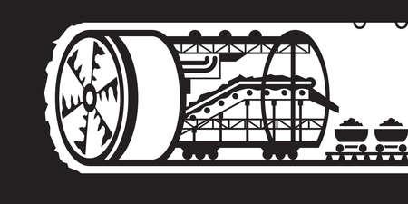 Building of underground tunnels - vector illustration Stock Illustratie
