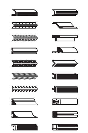beautiful homes: Metal, plastic and wooden trims - vector illustration Illustration