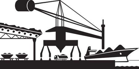 negocios internacionales: Descarga de materiales en bruto de buque de carga Vectores
