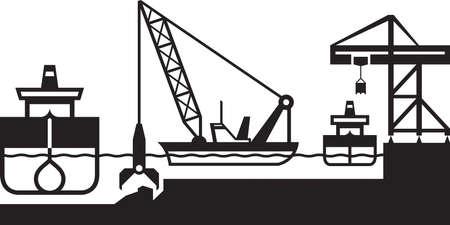 dredger: Dredger ship deepens port - vector illustration